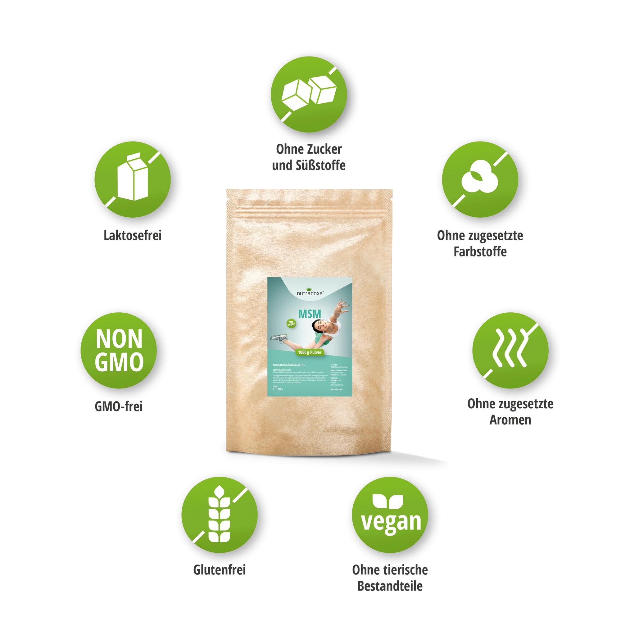 Spar-Set 7: MSM Pulver, Methylsulfonylmethan, organischer Schwefel ohne Zusätze